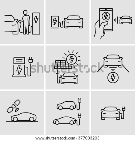 Electric Car Icons  - stock vector