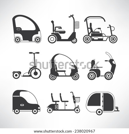 electric car icons set, electric scooter, small car icons, mobility scooter icons - stock vector