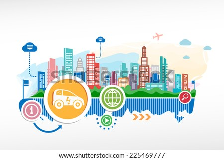 Electric car sign and cityscape background with different icon and elements. - stock vector