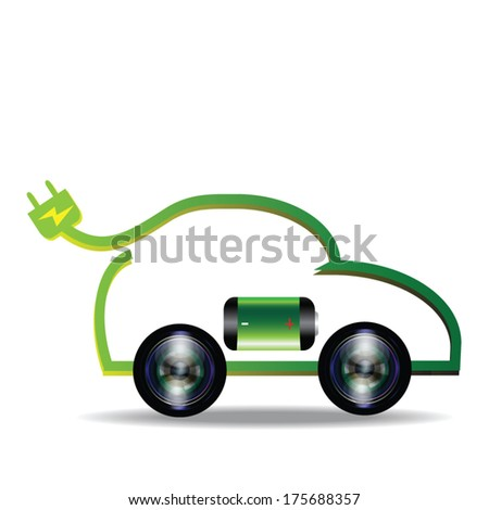 Electric car vector, renewable energy - stock vector
