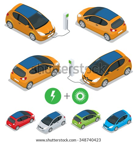 Electric car with Solar Panels. Eco car. Eco transport. Isometric vector illustration. Flat 3d isometric vector illustration for infographic.  - stock vector