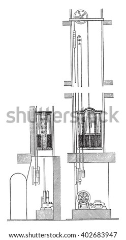 Electric elevator Edoux, vintage engraved illustration. Industrial encyclopedia E.-O. Lami - 1875. - stock vector