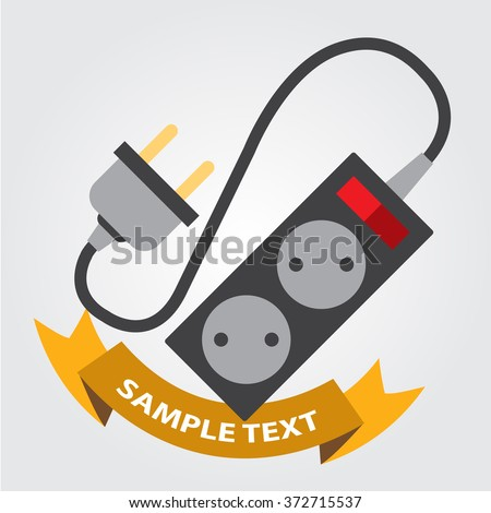 Electric extension cord, socket and plug the appliance. - stock vector