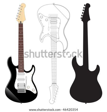 Electric guitar - stock vector