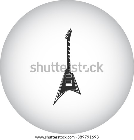 Electric guitar flying V form  simple icon on round background - stock vector