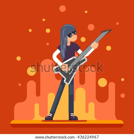 Electric Guitar Icon Guitarist Hard Rock Heavy Folk Music Background Flat Design Vector Illustration - stock vector