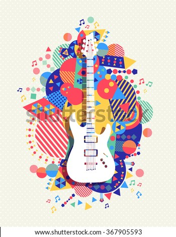 Electric guitar icon, music concept design with colorful vibrant geometry shapes background. EPS10 vector. - stock vector