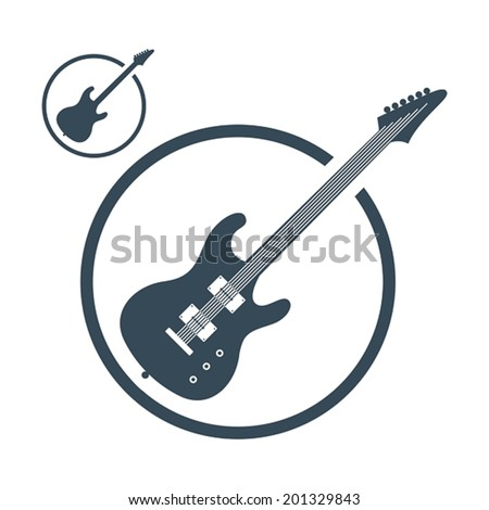 Electric guitar music icons isolated, single color vector music theme symbol for your design, 2 versions set. - stock vector
