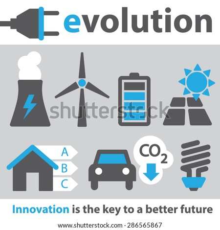 Electric Innovation Icon Set - stock vector