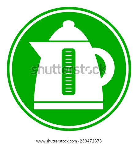 Electric kettle button on white background. Vector illustration. - stock vector