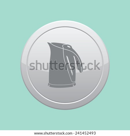 Electric kettle icon. Gray round button. - stock vector