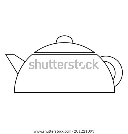 Electric kettle icon on white background. - stock vector