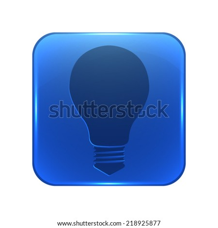 Electric lamp icon - glossy blue button - stock vector