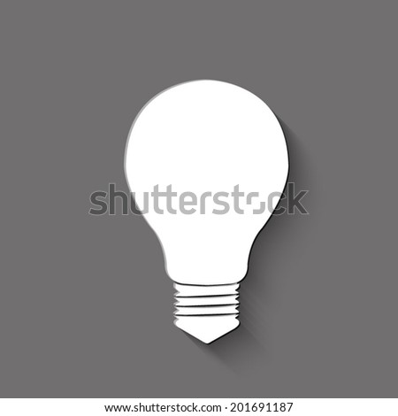 Electric lamp icon - white vector illustration with shadow on gray background - stock vector