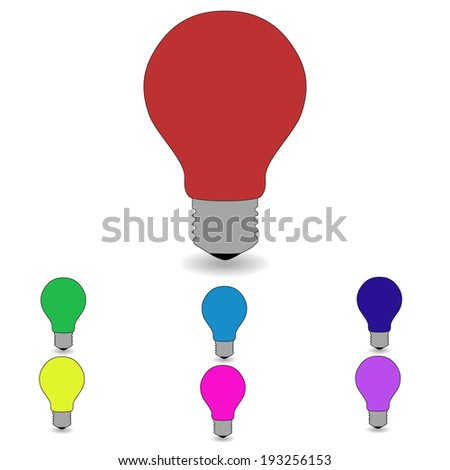 Electric lamps of different colors on a white background. vector - stock vector