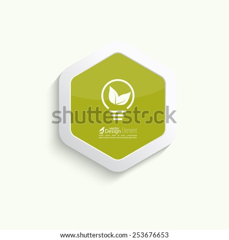 Electric light bulb with green leaves. green eco energy concept. - stock vector