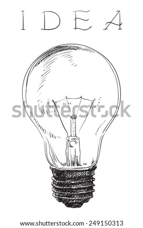 Electric lightbulb. Vector pf Light bulb on white background at engraving style.   - stock vector