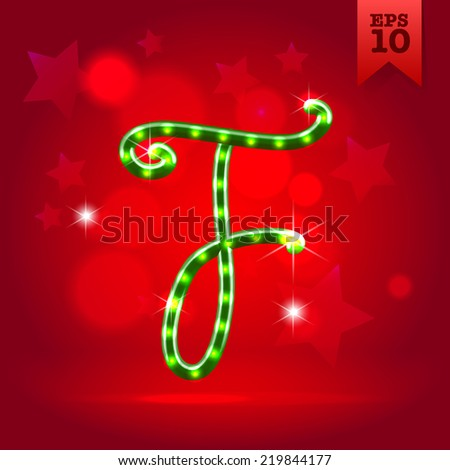 Electric modern green garland christmas new year decorative font capital letter F - stock vector