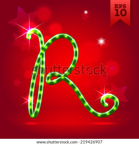 Electric modern green garland christmas new year decorative font capital letter R - stock vector
