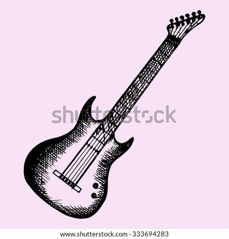 electric modern guitar, doodle style, sketch illustration, hand drawn, vector - stock vector