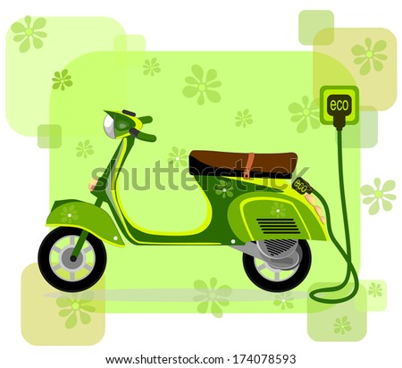 Electric moped, charging via cable ,vector - stock vector