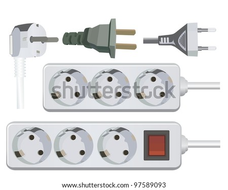 Electric Plug and outlet extension set - stock vector