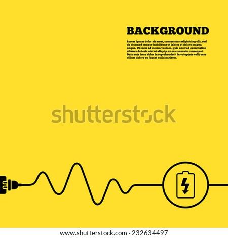 Electric plug background. Battery charging sign icon. Lightning symbol. Yellow poster with black sign and cord. Vector - stock vector