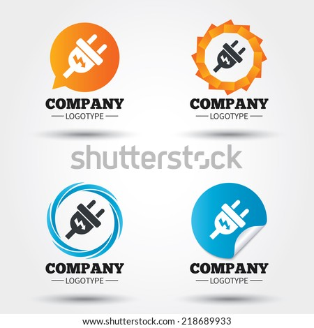 Electric plug sign icon. Power energy symbol. Lightning sign. Business abstract circle logos. Icon in speech bubble, wreath. Vector - stock vector