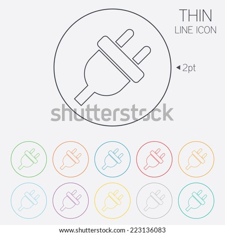 Electric plug sign icon. Power energy symbol. Thin line circle web icons with outline. Vector - stock vector