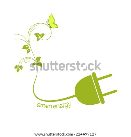 Electric plug with green leaves. Eco friendly energy concept - stock vector