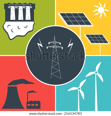 Electric power flat icons. - stock vector