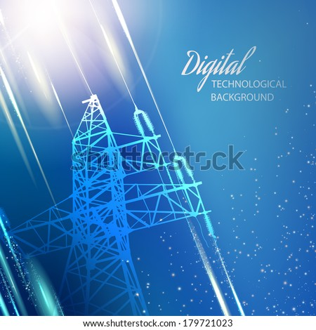 Electric power transmission tower. Vector illustration. - stock vector