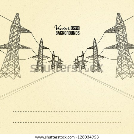 Electric pylons in perspective. Vector illustration, eps 10, contains transparencies. - stock vector