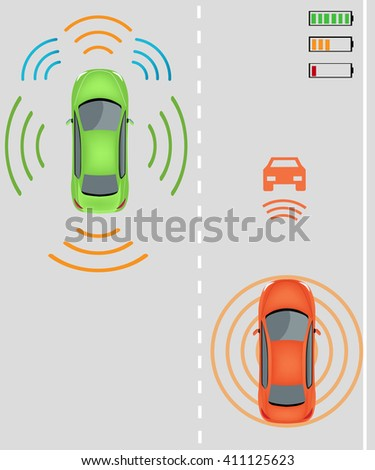 Electric re-charging lane Wireless charging system for electric vehicles. Charge while in motion on smart highway. Smart car wireless charging  Electric vehicles on highway. Smart car - stock vector