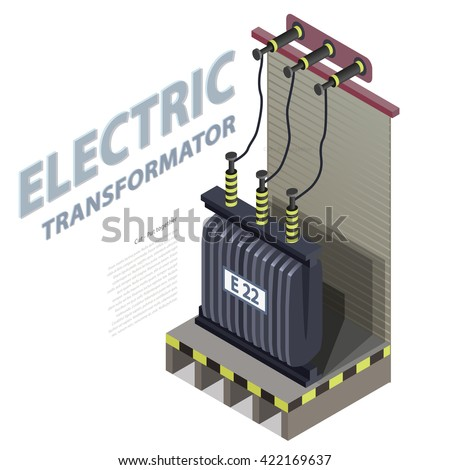 Electric transformer isometric building info graphic. High-voltage power station. Old plant architecture. Scientific illustration. Pictogram industrial electricity set. Flatten isolated master vector. - stock vector