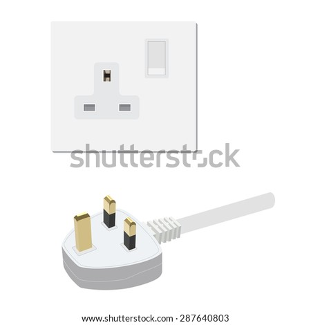 Electric uk socket and plug vector illustration. Electricity symbols - stock vector