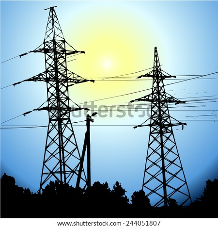 Electric wire against the sky. Vector - stock vector
