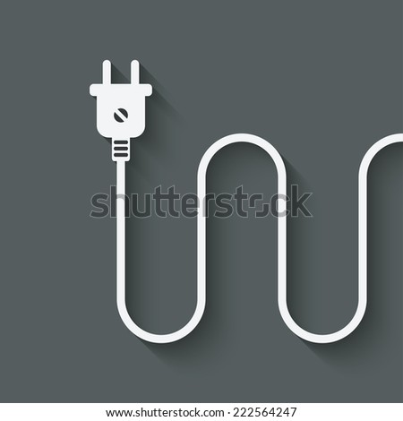 electric wire with plug - vector illustration. eps 10 - stock vector