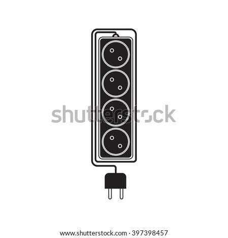Electrical extension cord in a modern flat style. Electric surge protector icon, electric extension cable icon, electrical plug and electrical outlet. Four electrical outlets. Schematic image. Vector - stock vector