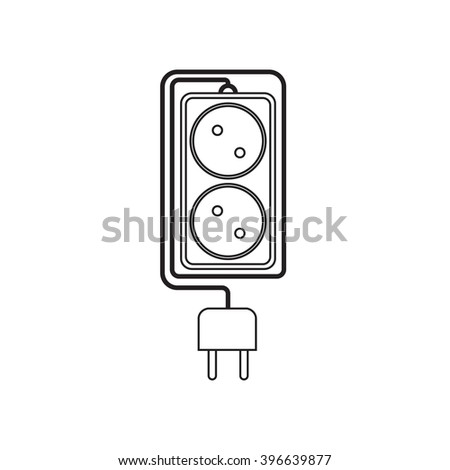 Electrical extension cord in a modern linear style. Electric surge protector icon, electric extension cable icon, electrical plug and electrical outlet. Two electrical outlet. Schematic image. Vector - stock vector