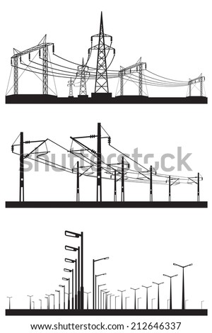 Electrical installations set - vector illustration - stock vector
