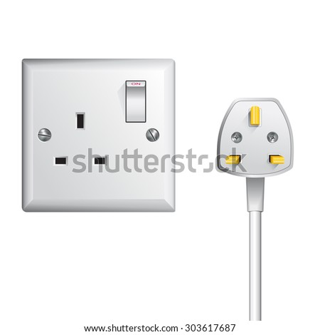 electrical outlet in the UK, power socket and cable - stock vector