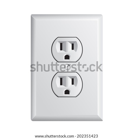 electrical outlet in the USA, power socket - stock vector