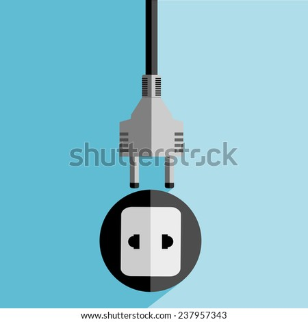 electrical plug flat icon. vector  - stock vector