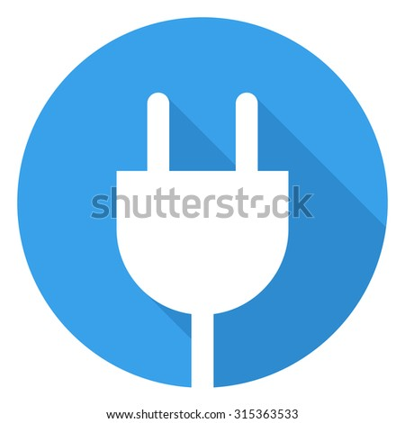 Electrical plug icon, modern minimal flat design style, vector illustration with long shadow - stock vector