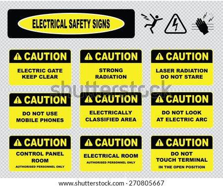 electrical safety signs, various caution signs (electric gate, strong radiation, laser, electric classified area, do not look at electric arc, control panel room, do not touch terminal) - stock vector