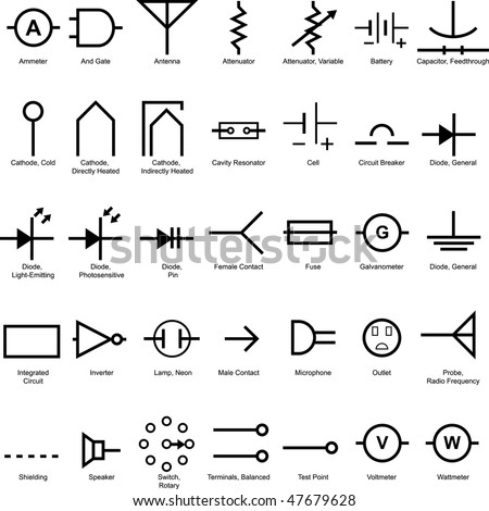 Electricity Symbol Electrical Icon Set