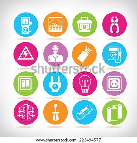 electrical tools, industrial tools icons, electric tools icons, colorful circle buttons set - stock vector