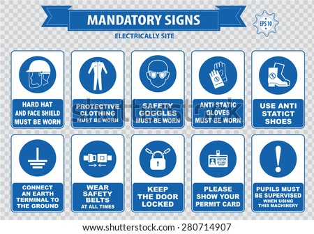 Electrically Mandatory Sign (hard hat, face shield must be worn, high visibility vest, respirator, welding mask, anti static gloves, turn off, safety goggles, protective cloth, ground terminal, belt) - stock vector