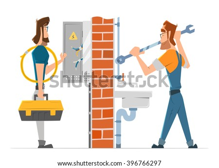 Electrician and plumber man working. Home house repair service. Color vector illustration. - stock vector